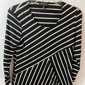 Slinky Mix-stripe Tunic Black